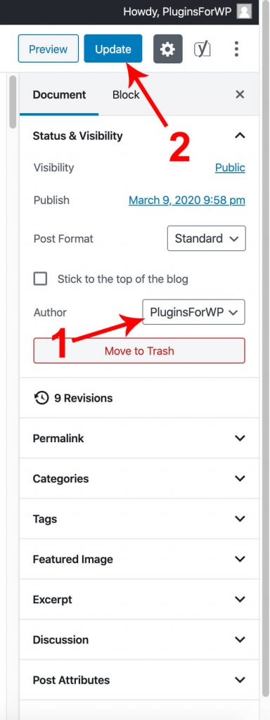 Choose blog post author