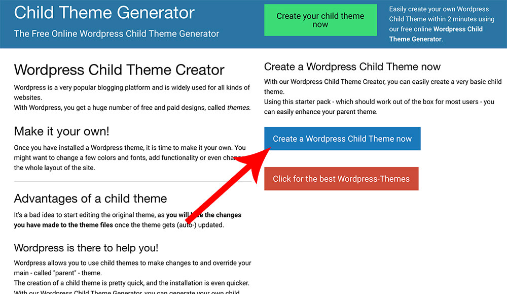 Create a WordPress child theme online