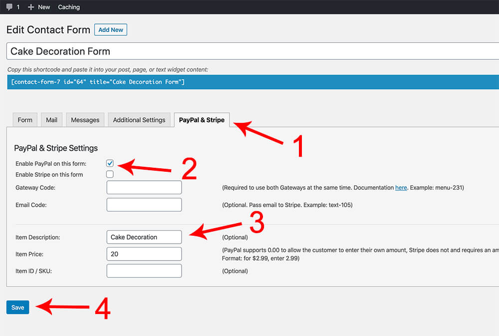 Enable PayPal to a specific form