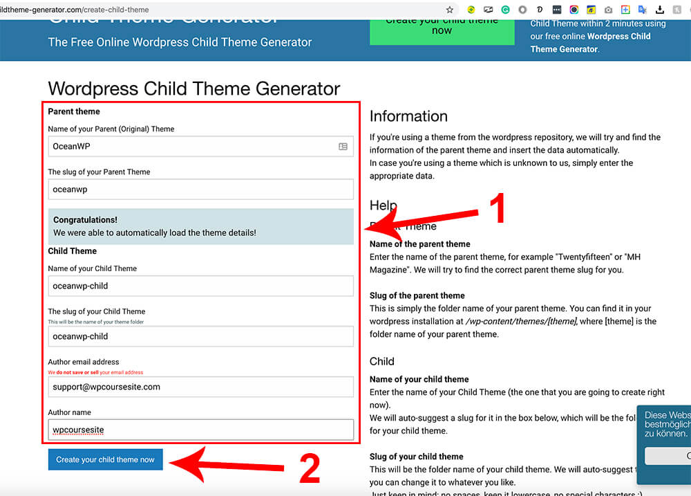 Fill the fields and click on create your child theme now