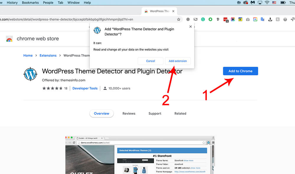 Install google chrome theme detection extension