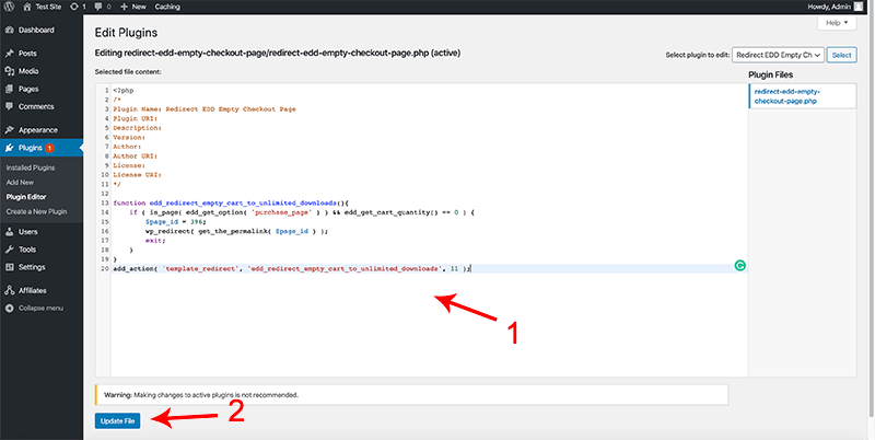 Paste code snippet in pluginception