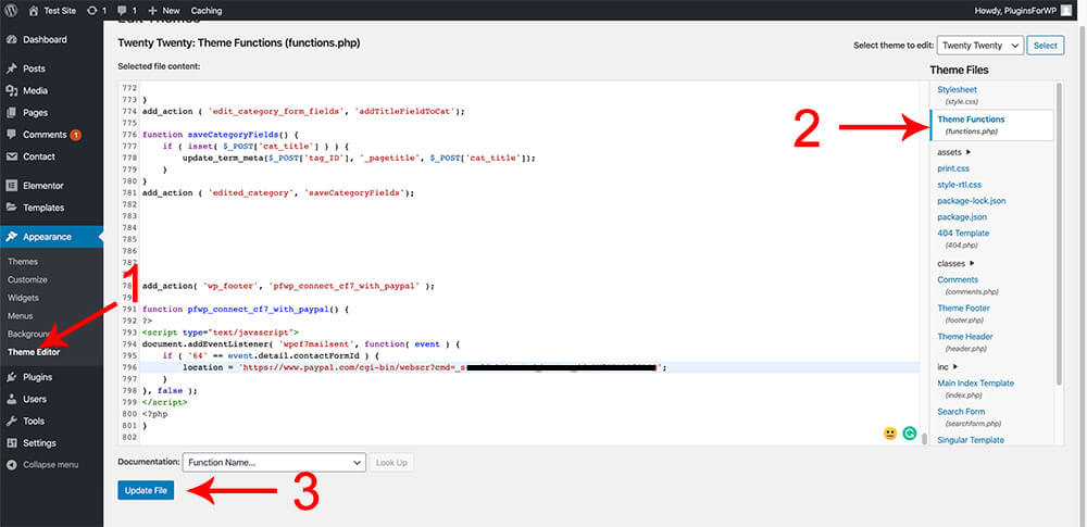 Paste the function in the functions php file