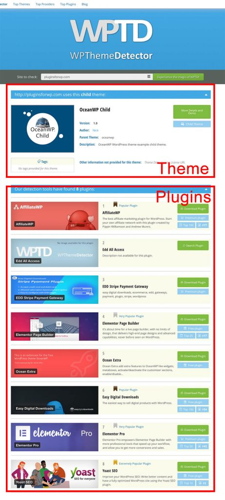 Theme and Plugins that pluginsforwp is using