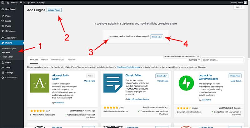 Upload the custom plugin to wordpress
