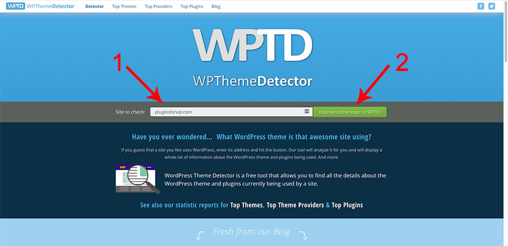 Use a website to detect which theme and plugins a website is using