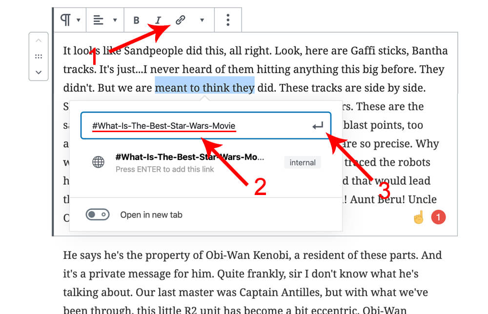 Create anchor links in wordpress