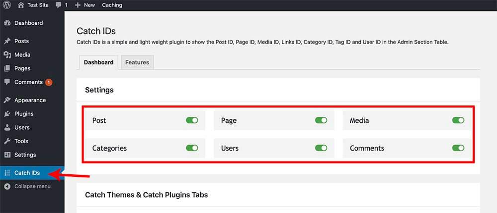 Catch ID plugin settings