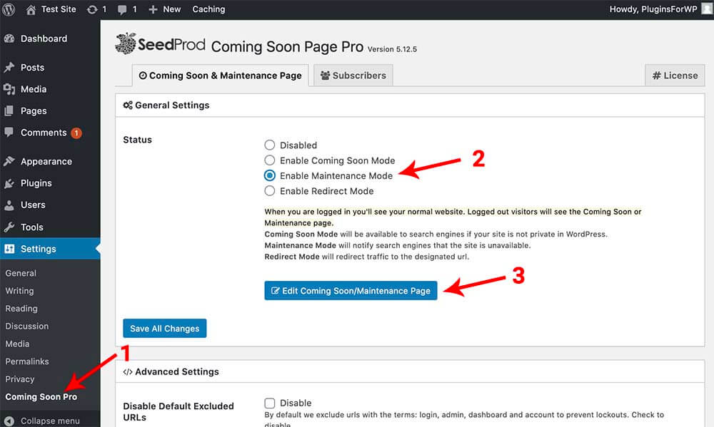 using the seedprod pro plugin