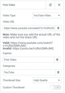 Elementor video gallery video options