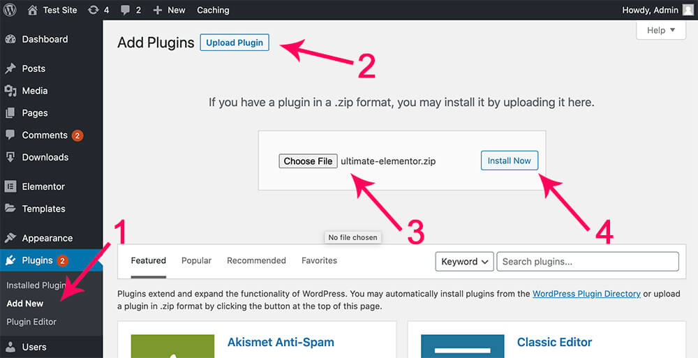 Install Ultimate Addons for Elementor Plugin