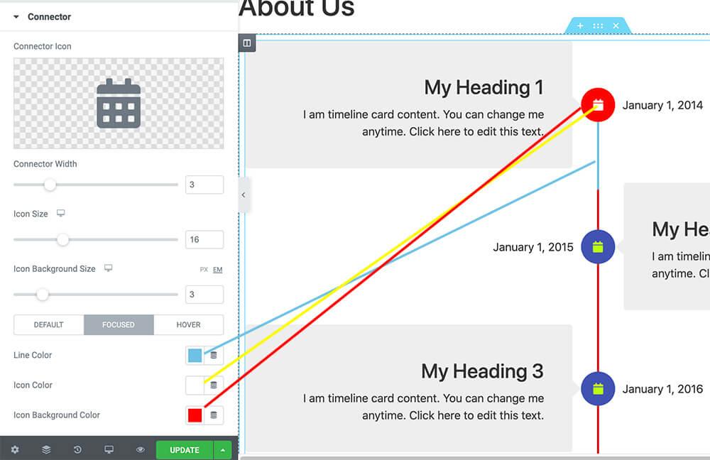 UAE Timeline Widget focused colors