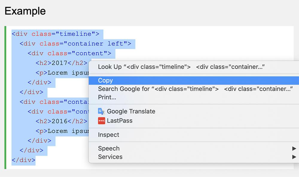 Copy Timeline HTML structure