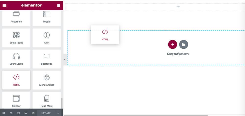 Drag Elementor HTML Widget