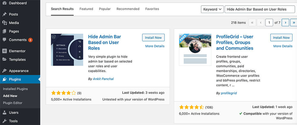 Hide admin bar based on user role plugin