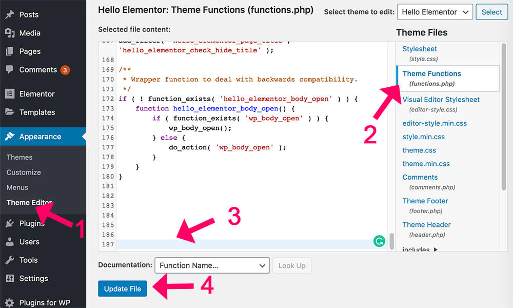 Paste the function in the functions php file copy