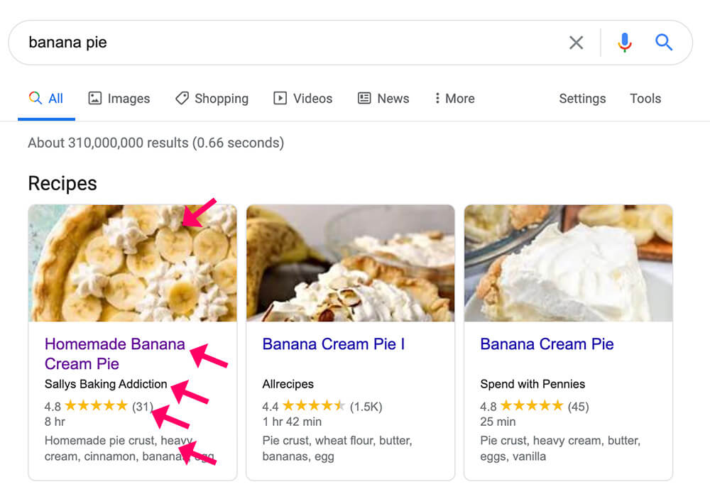 Schema recipes in Google