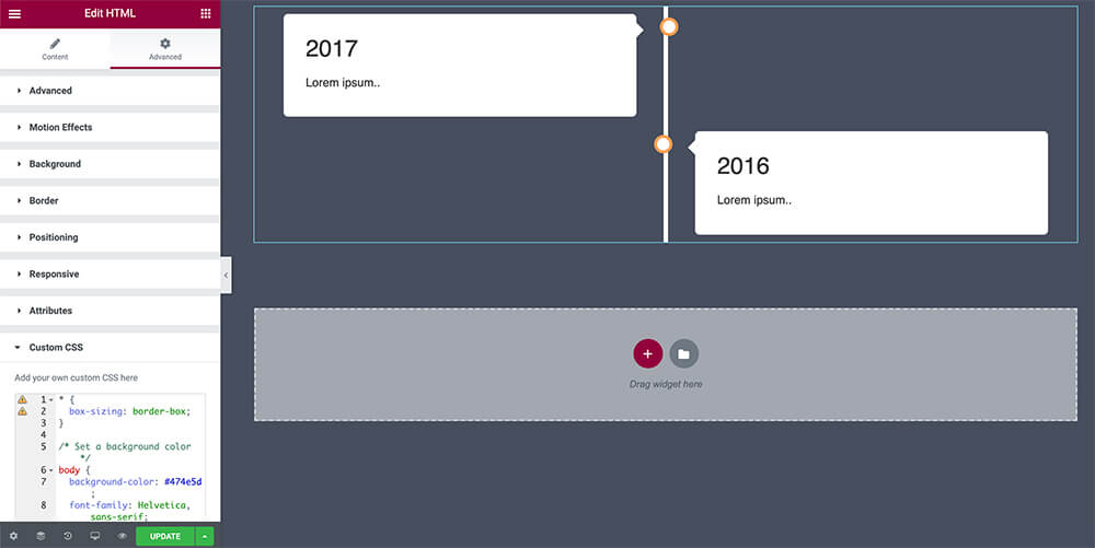 Timeline with css