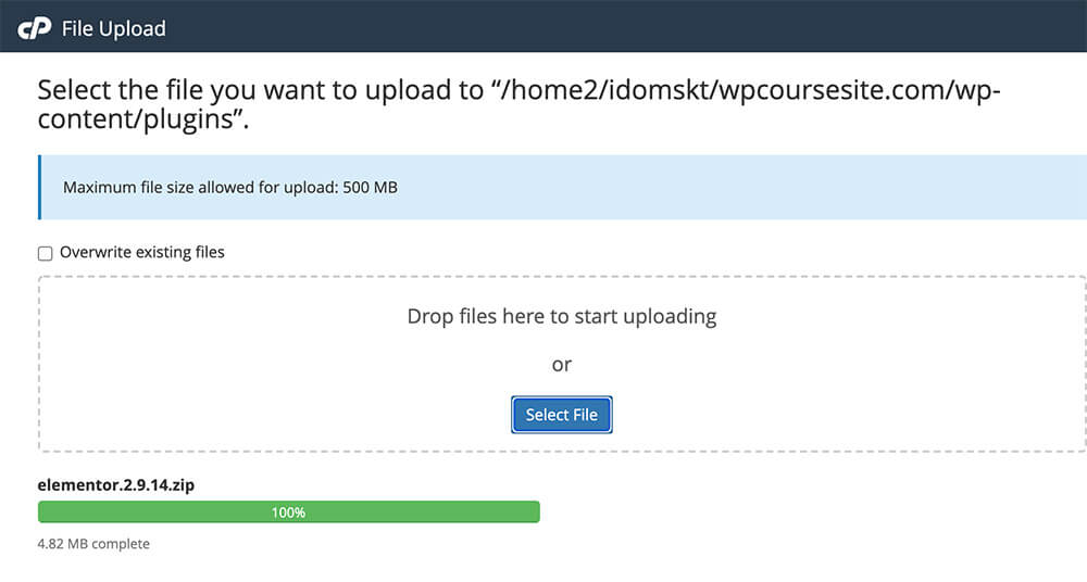 Upload a plugin or theme to cpanel