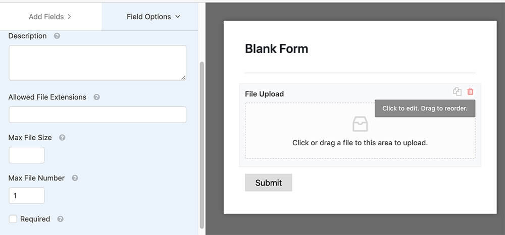 Upload files with wpforms