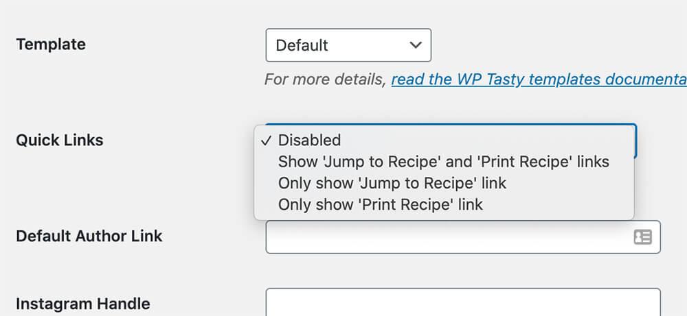 wp tasty quick links options
