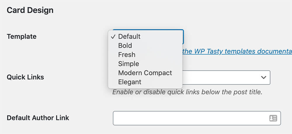 wp tasty template options