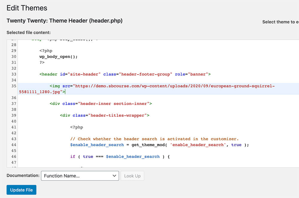 Add an image to php file