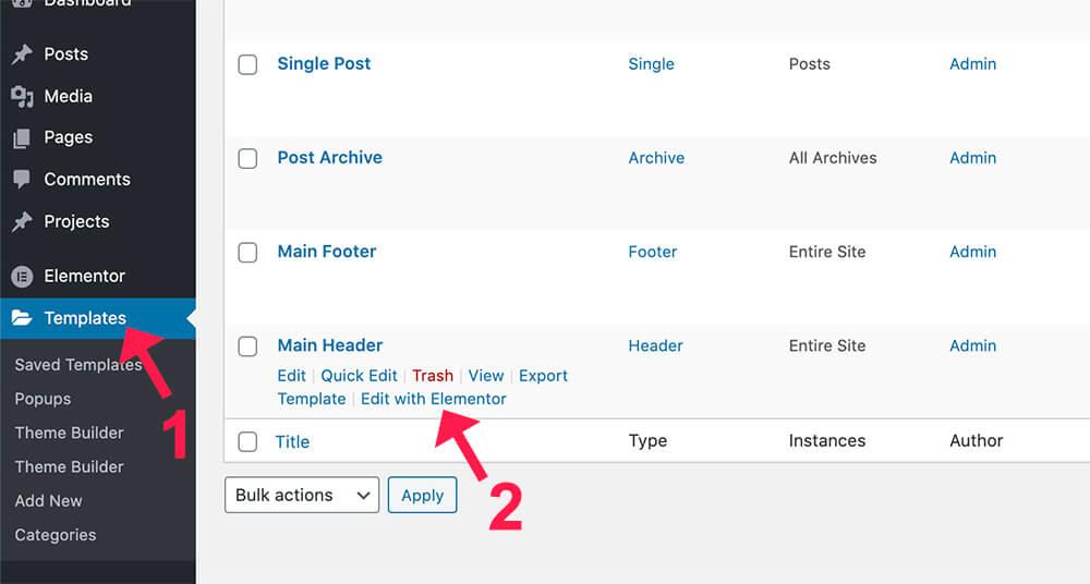 Edit website header template with elementor