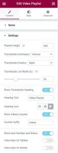 Video Playlist Widget Settings