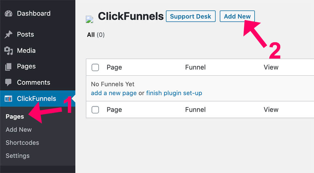 Clickfunnels new page
