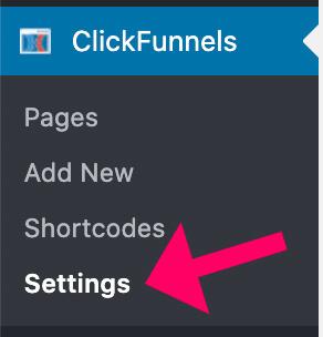 Clickfunnels plugin settings screen