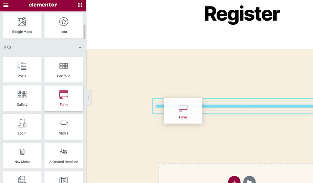 Elementor default form widget