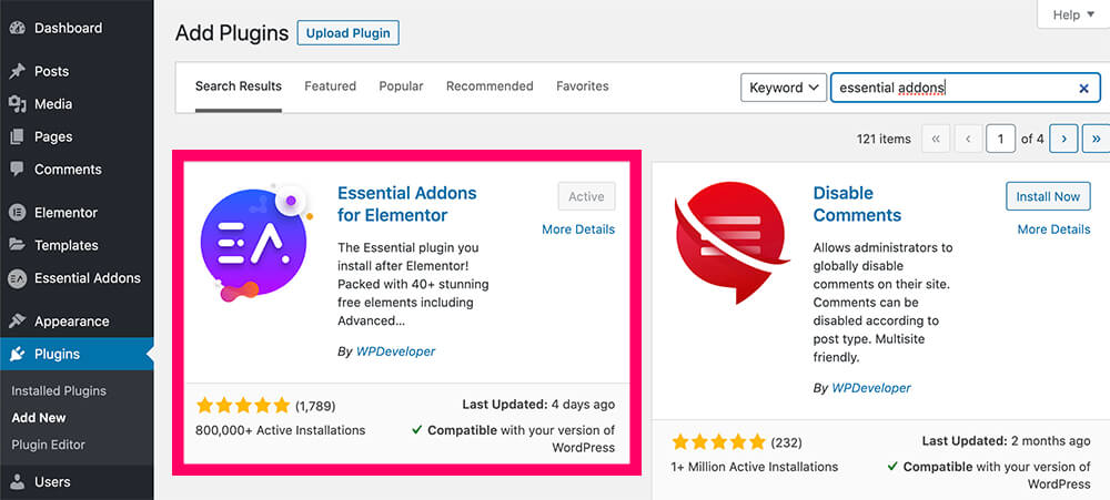 Install the Essential Addons for Elementor plugin