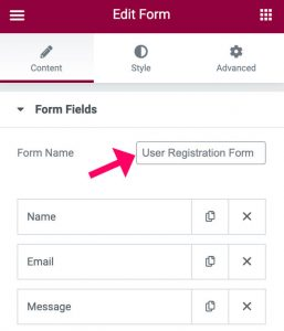 Name the user sign up form