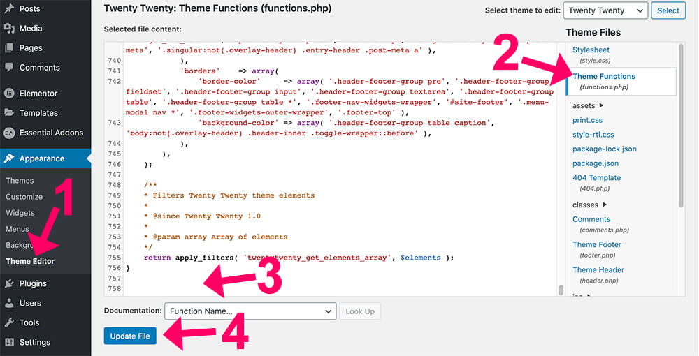 Paste function in the functions php file