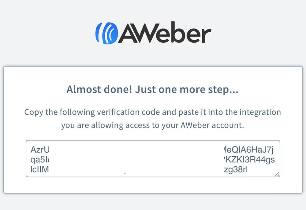 Aweber autho code
