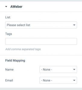 Aweber tab in Elementor