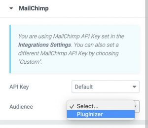 Choose mailchimp list