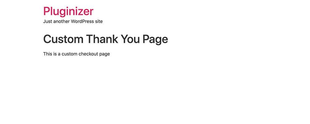 Custom thank you page