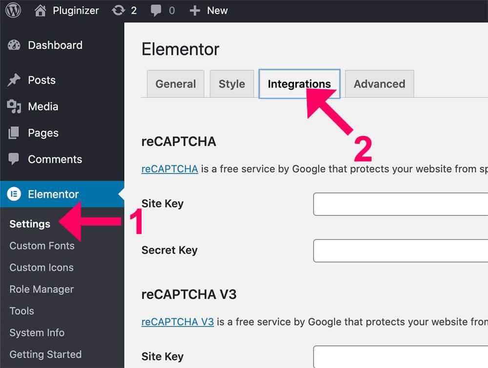 Elementor integrations screen