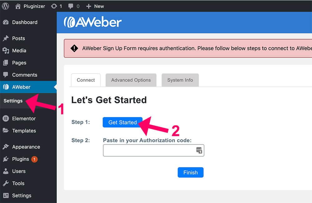 Get Aweber Authorization code