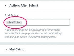 Mailchimp action after submit