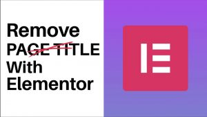 How To Remove Page Title With Elementor
