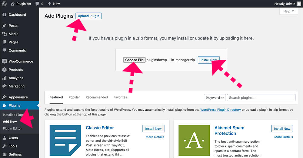 Upload our Plugin Manager to your website