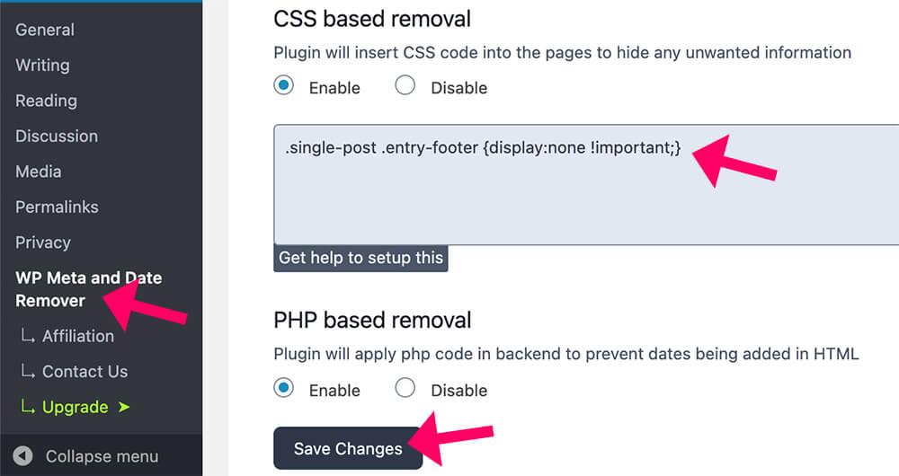 Date remover plugin configuration