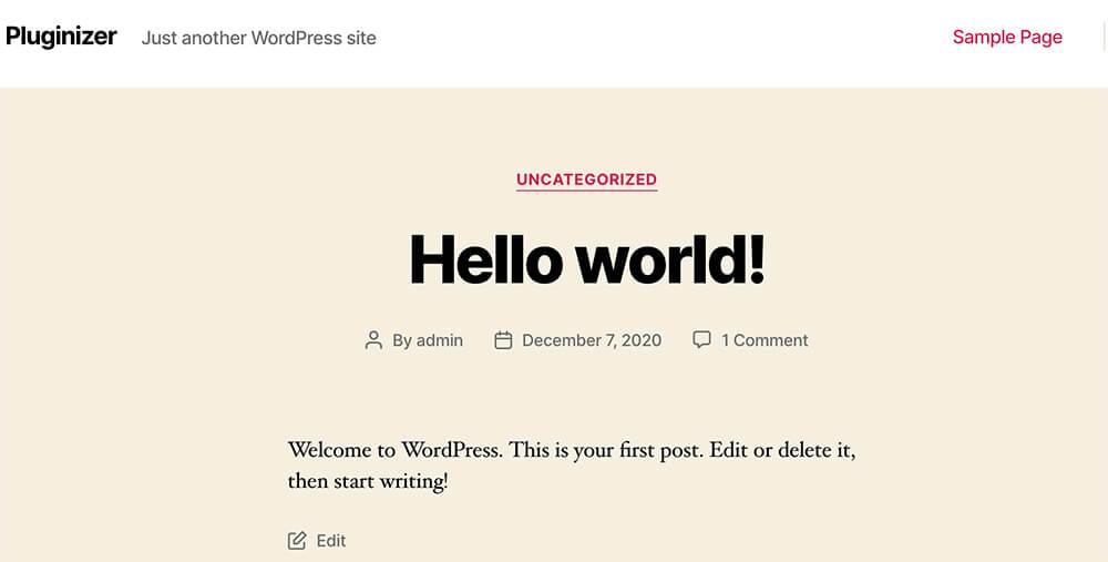 Default homepage showing latest blog posts