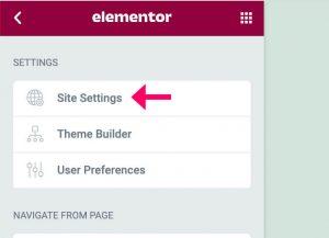 Elementor plugin site settings