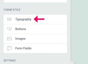 Elementor typography global tab