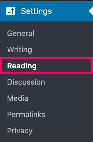 Settings reading screen