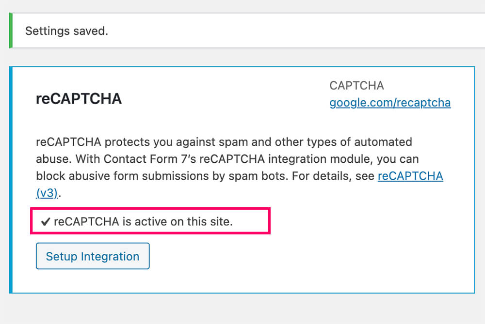 reCaptcha is active with CF7